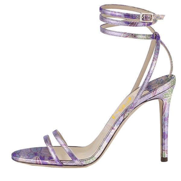 Purple Cherry Blossom Floral Heels Strappy Sandals Stilettos Sandals image 2