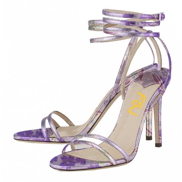 Purple Cherry Blossom Floral Heels Strappy Sandals Stilettos Sandals image 1