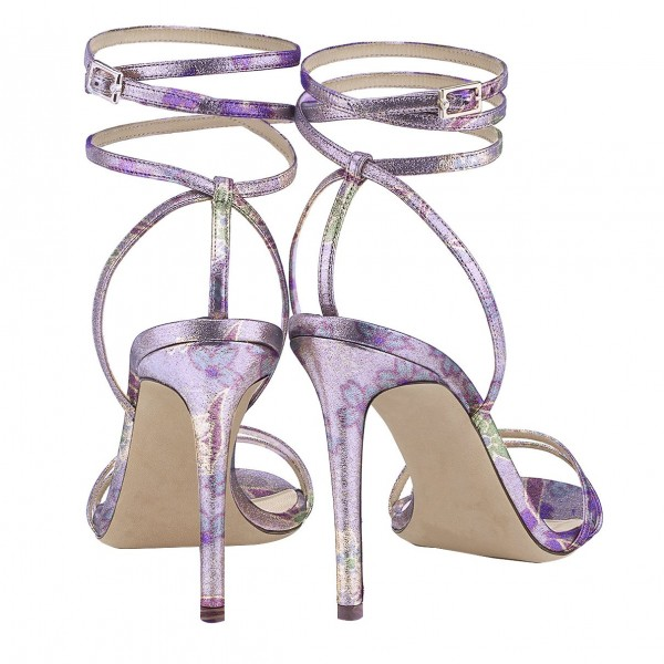 Purple Cherry Blossom Floral Heels Strappy Sandals Stilettos Sandals image 3