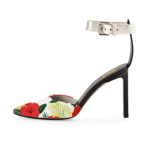 Floral Heels Ankle Strap Closed Toe Block Heel Sandals image 3