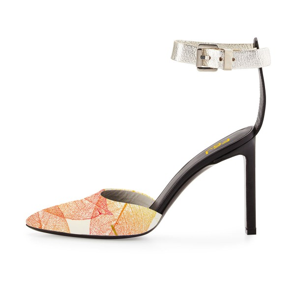 Women's Yellow Leaves Printed Ankle Strap Sandals image 3