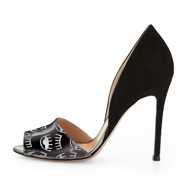 Black Peep Toe Heels Double D'orsay Pumps  image 2