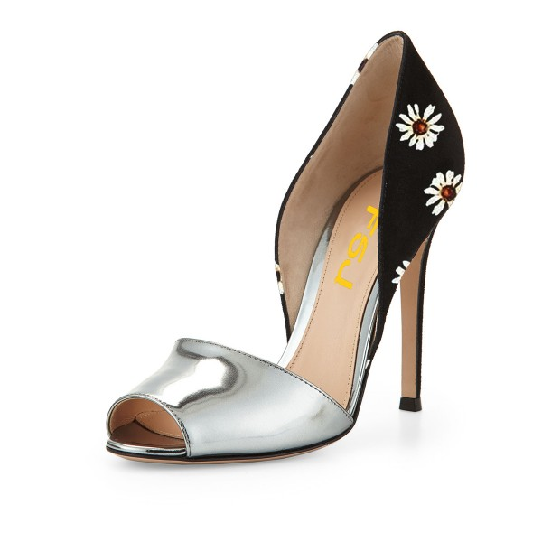 Silver and Black Peep Toe Heels Floral Stiletto Heel Double D'orsay Pumps image 1