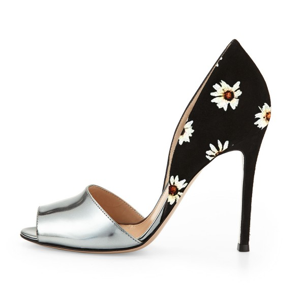Silver and Black Peep Toe Heels Floral Stiletto Heel Double D'orsay Pumps image 2