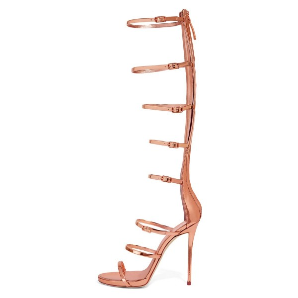 Rose Golden Gladiator Sandals Knee-High 4 Inches Stilettos Shoes image 4