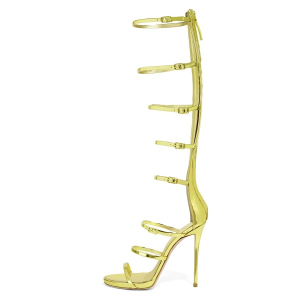 Lime Gladiator Heels 4 Inch Stiletto Heels Open Toe Knee-high Sandals image 2