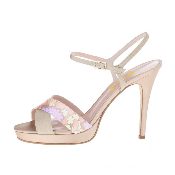 Blush Heels Floral Open Toe Stiletto Heels Sandals image 2