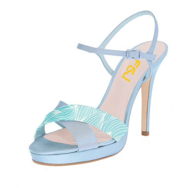 Light Blue Floral Platform Sandals Stiletto Heels Slingback Sandals image 1