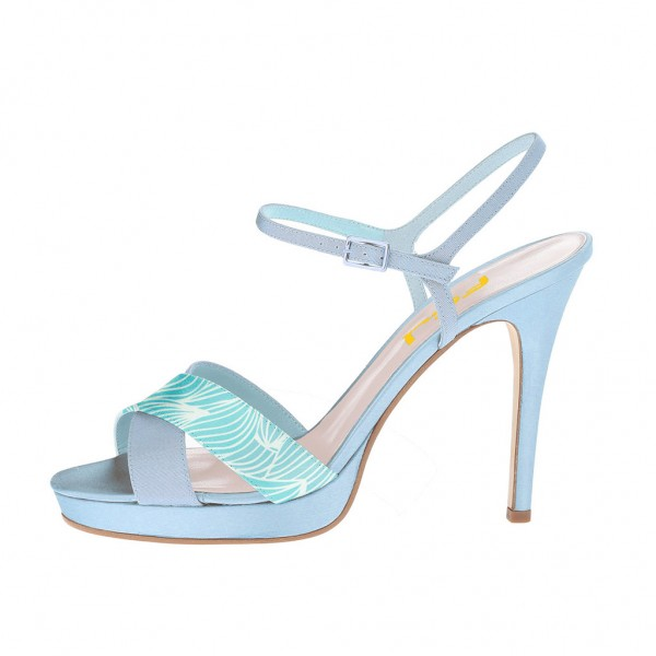 Light Blue Floral Platform Sandals Stiletto Heels Slingback Sandals image 2