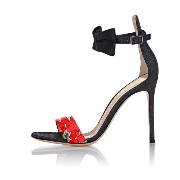 Floral Ankle Strap Sandals Open Toe Stiletto Heels with Bow image 3