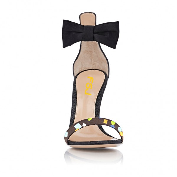 Black Ankle Bow Stiletto Heel Sandals Bridesmaid Heels image 2