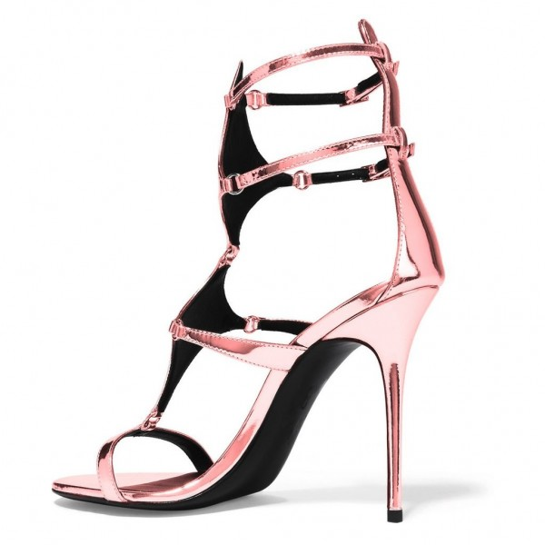 FSJ Shoes Pink Ankle Strap Heels Mirror Leather Sandals Stiletto Heels image 4