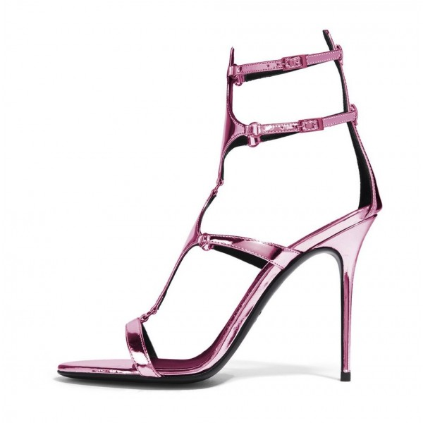 Magenta Mirror Leather Buckles Gladiator Shoes Stiletto Heel Sandals image 2