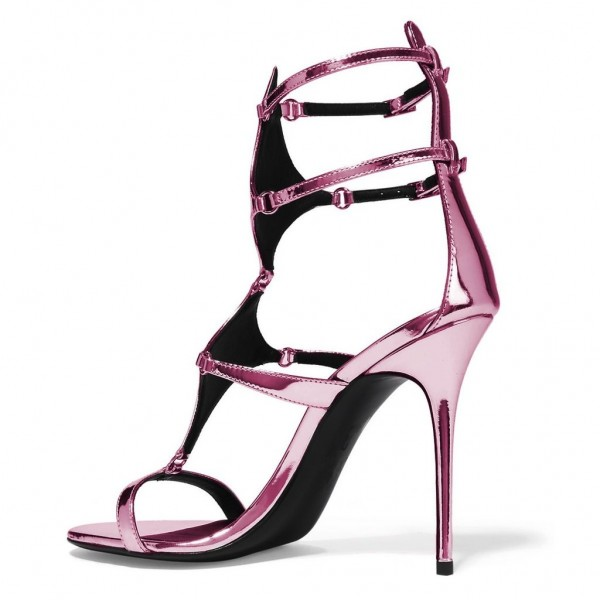 Magenta Mirror Leather Buckles Gladiator Shoes Stiletto Heel Sandals image 4