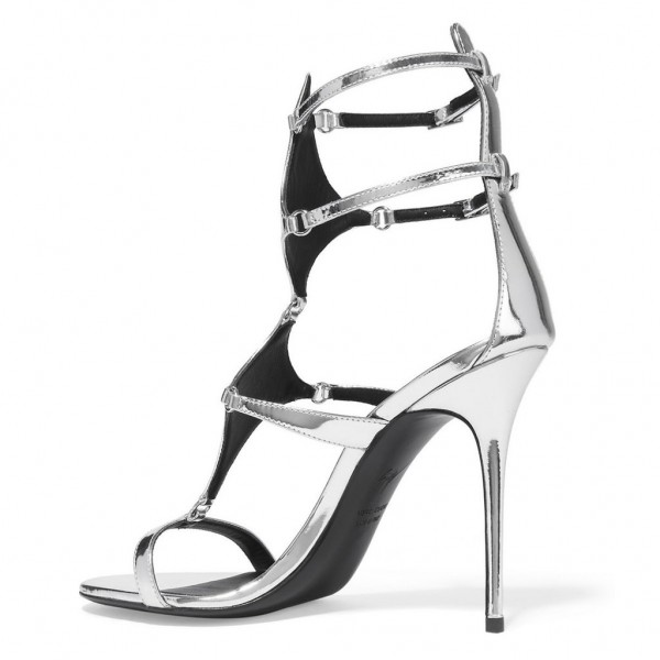 Silver Metallic Heels Open Toe Stiletto Heel Gladiator Sandals by FSJ image 2