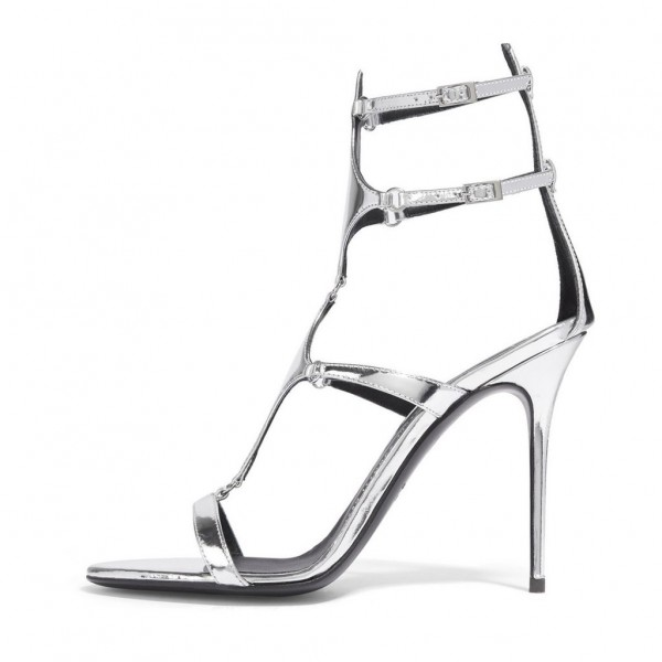 Silver Metallic Heels Open Toe Stiletto Heel Gladiator Sandals by FSJ image 1