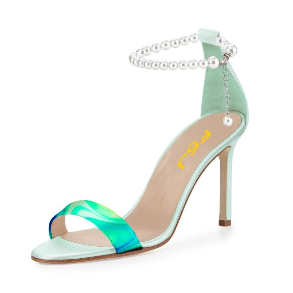 Turquoise Ankle Strap Sandals Open Toe Stiletto Heels with Pearls image 1