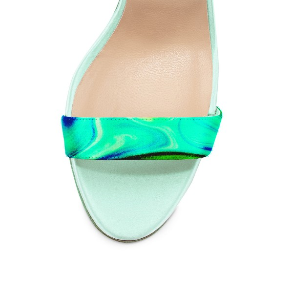 Green Evening Shoes Pearls Ankle Strap Stiletto Heel Sandals image 2