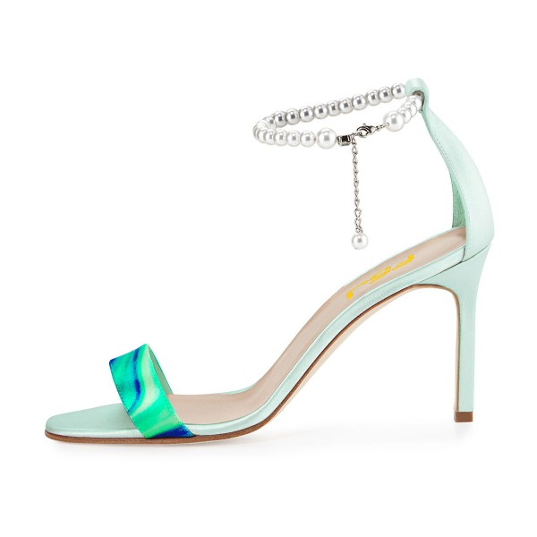 Turquoise Ankle Strap Sandals Open Toe Stiletto Heels with Pearls image 3