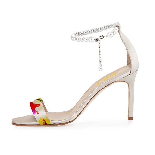 Women's Red Open Toe Pearl Ankle-Strap Sandals image 3