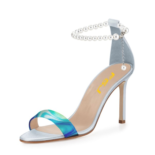 Blue 4 Inch Heels Prom Shoes Pearl Ankle Strap Sandals image 1