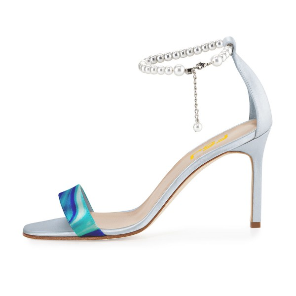 Blue 4 Inch Heels Prom Shoes Pearl Ankle Strap Sandals image 3