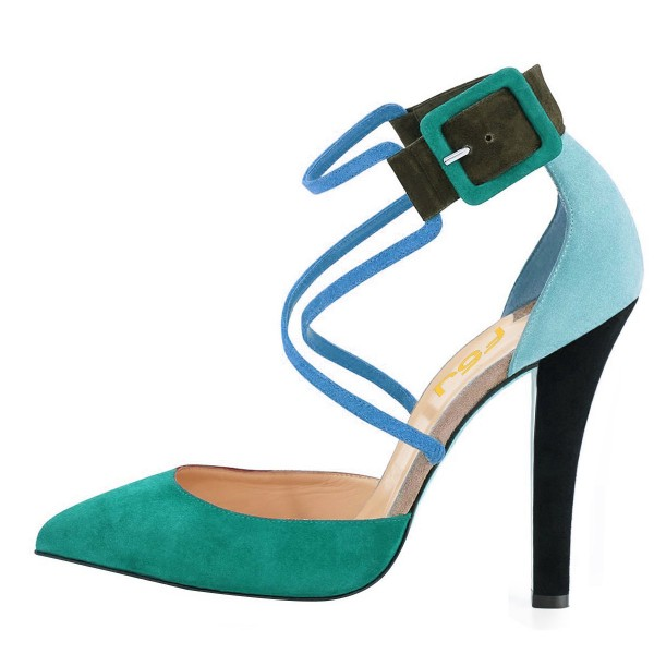 Green Block Heel Sandals Pointy Toe Suede Cross-over Strap Shoes image 2