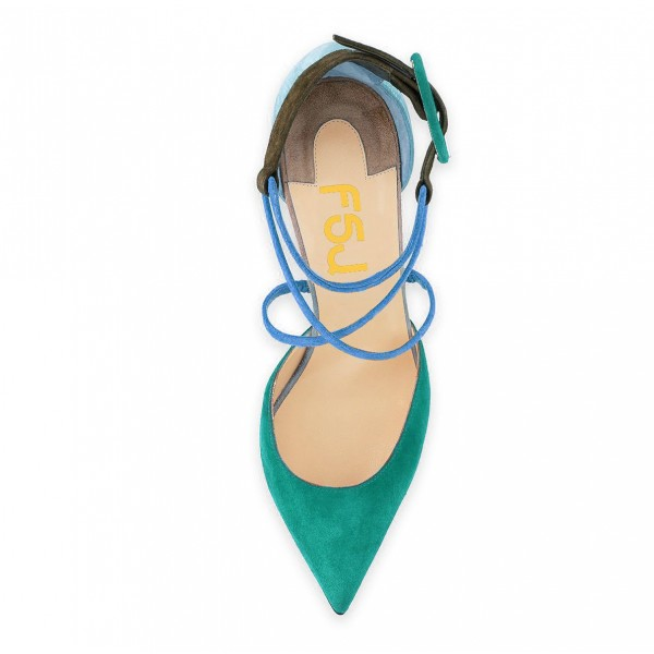 Green Block Heel Sandals Pointy Toe Suede Cross-over Strap Shoes image 3