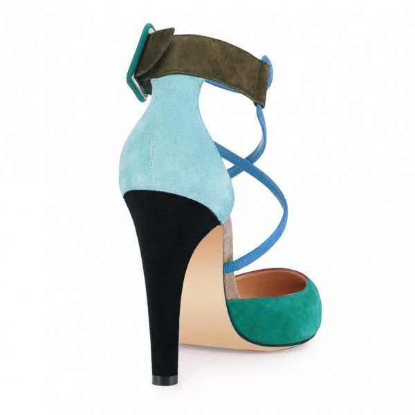 Green Block Heel Sandals Pointy Toe Suede Cross-over Strap Shoes image 4