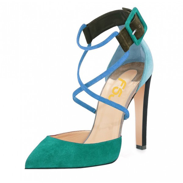 Green Block Heel Sandals Pointy Toe Suede Cross-over Strap Shoes image 1