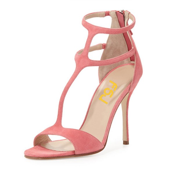 Women's Pink Dress Shoes Peep Toe T-Strap Summer Sandals with Zipper  image 1