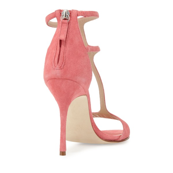 Women's Pink Dress Shoes Peep Toe T-Strap Summer Sandals with Zipper  image 3