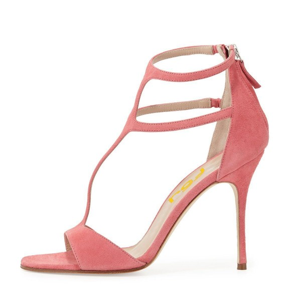 Women's Pink Dress Shoes Peep Toe T-Strap Summer Sandals with Zipper  image 4