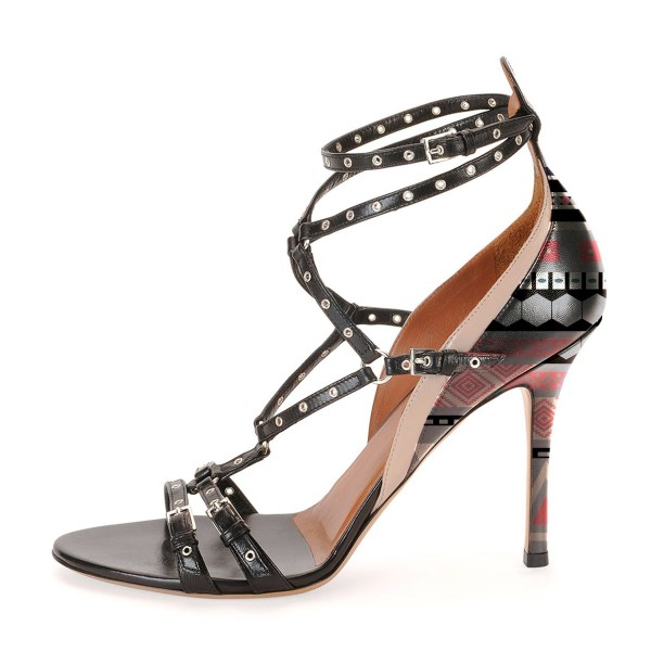 Black Studs Shoes Open Toe Stiletto Heel Strappy Sandals image 3