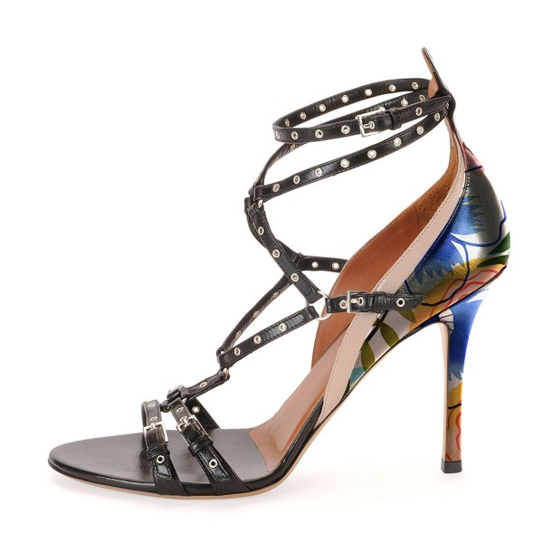Black Studs Shoes Floral Print Stiletto Heel Strappy Sandals by FSJ image 3