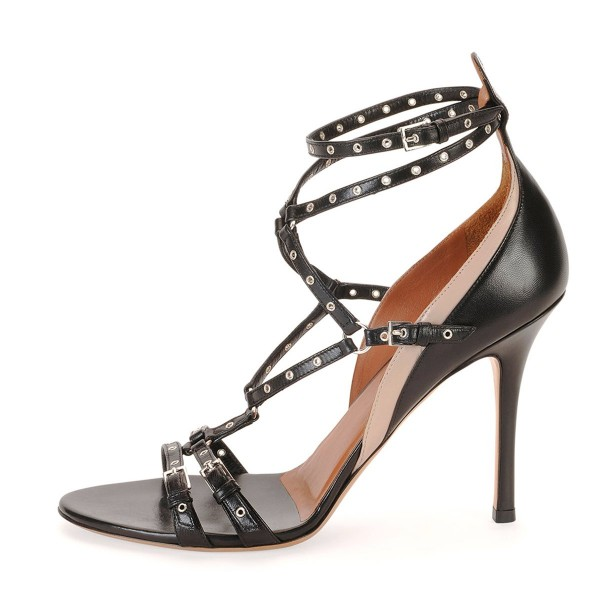 Black Studs Shoes Stiletto Heel Strappy Sandals for Office Lady image 2