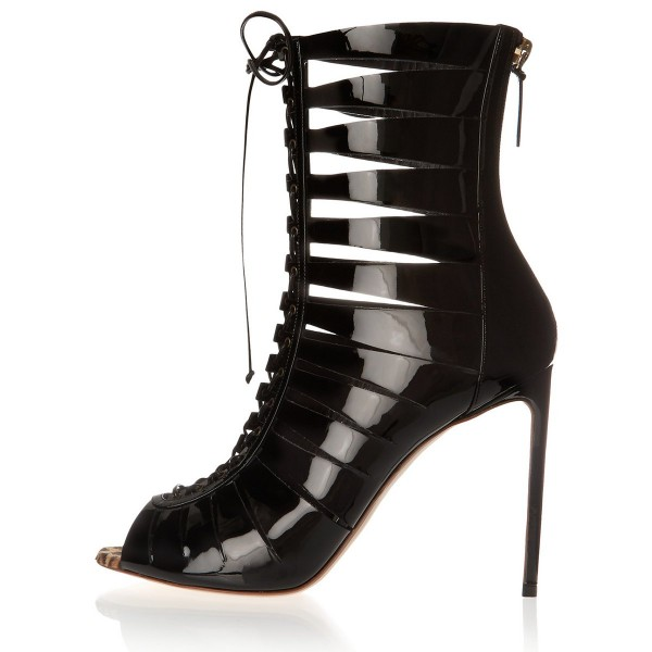 Black Gladiator Boots Stiletto Heel Hollow-out Lace-up Shoes image 1