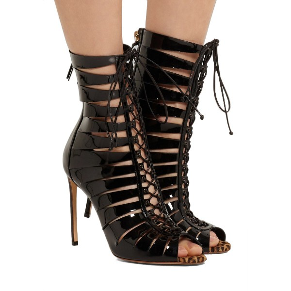 Black Gladiator Boots Stiletto Heel Hollow-out Lace-up Shoes image 3