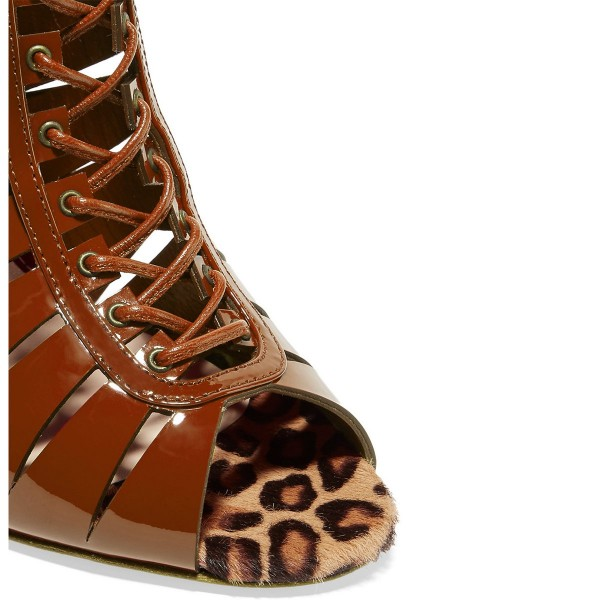Tan Patent Leather Gladiator Heels Peep Toe Lace up Stiletto Heels image 3