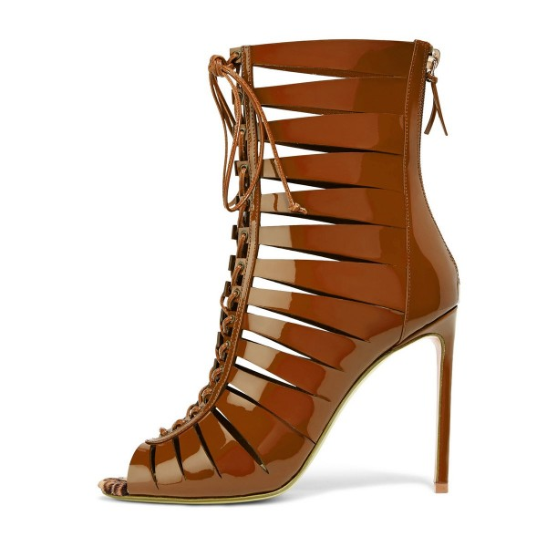 Tan Patent Leather Gladiator Heels Peep Toe Lace up Stiletto Heels image 1