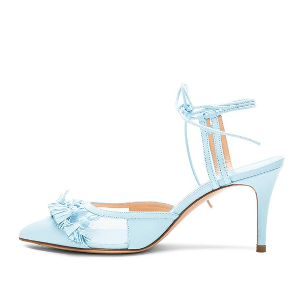 Women's Light Blue Tassels Decorated Strappy Stiletto Heel Sandals Ankle Strap Heels image 3