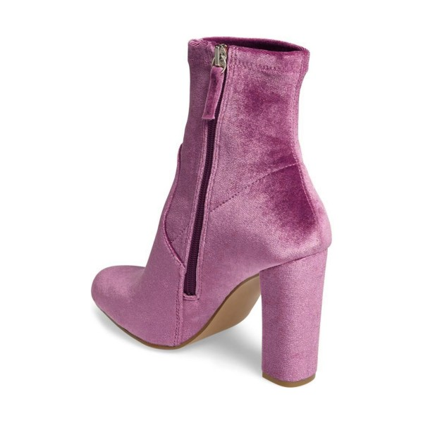 Women's Purple Chunky Heel Boots Velvet Round Toe Ankle Boots image 4