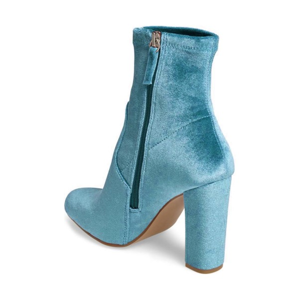 Teal Shoes Block Heel Velvet Work Ankle Boots by FSJ image 2