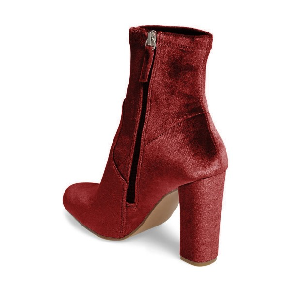 Brick Red Chunky Heel Boots Velvet Short Fashion Sock Boots image 3