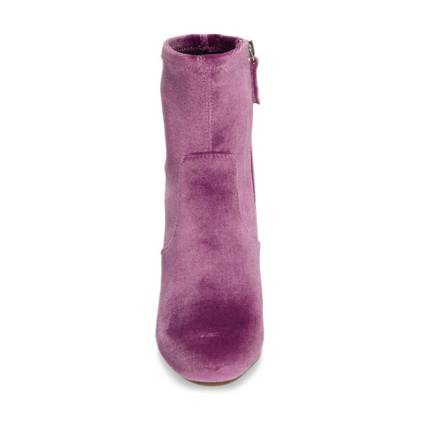 Women's Purple Chunky Heel Boots Velvet Round Toe Ankle Boots image 2