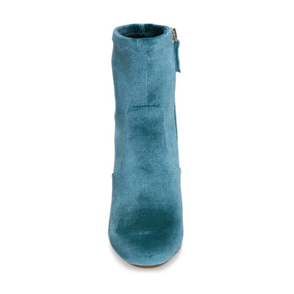 Teal Shoes Block Heel Velvet Work Ankle Boots by FSJ image 4