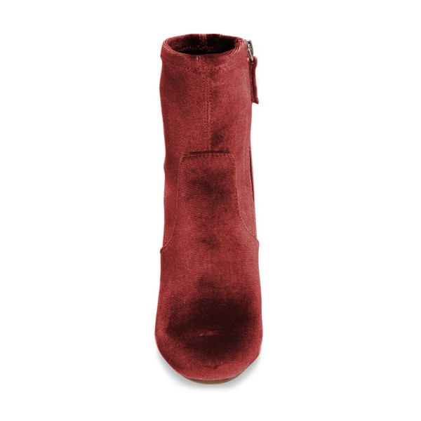Brick Red Chunky Heel Boots Velvet Short Fashion Sock Boots image 4