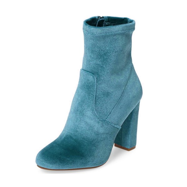Teal Shoes Block Heel Velvet Work Ankle Boots by FSJ image 1