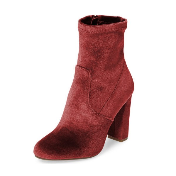 Brick Red Chunky Heel Boots Velvet Short Fashion Sock Boots image 1