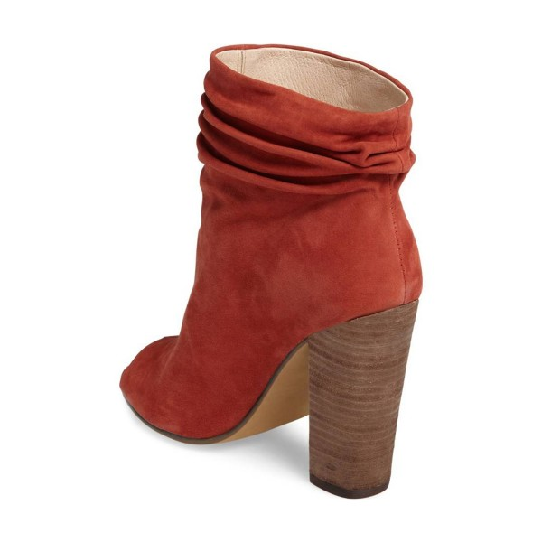 Brick Red Slouch Boots Peep Toe Suede Chunky Heels image 3
